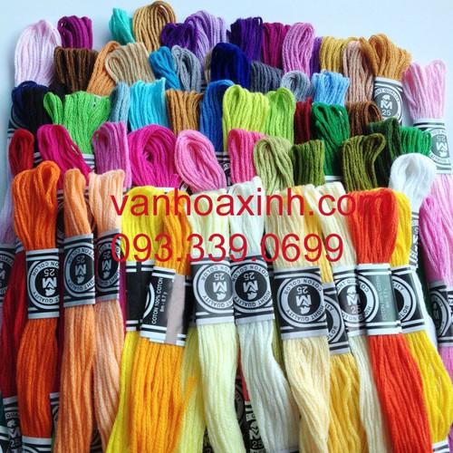 Gói 36-70 tép chỉ thêu tay sợi cotton màu trơn khác nhau, chọn set