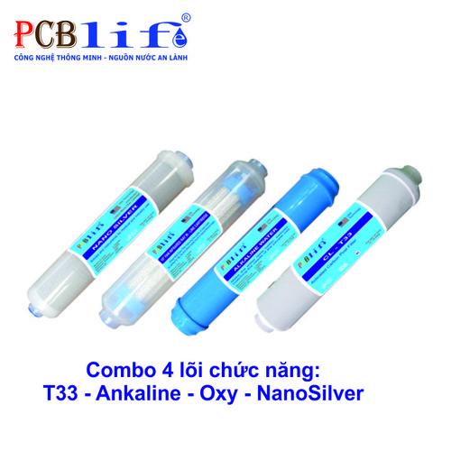 Combo 4 Lõi Chức Năng: T33-Ankaline-Oxy-NanoSilver - Máy Lọc Nước PCBlife