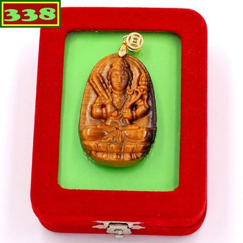 Mặt Phật Hư Không Tạng đá mắt hổ 5 cm kèm hộp nhung - Hộ mệnh tuổi Sửu, Dần - Mặt Size lớn