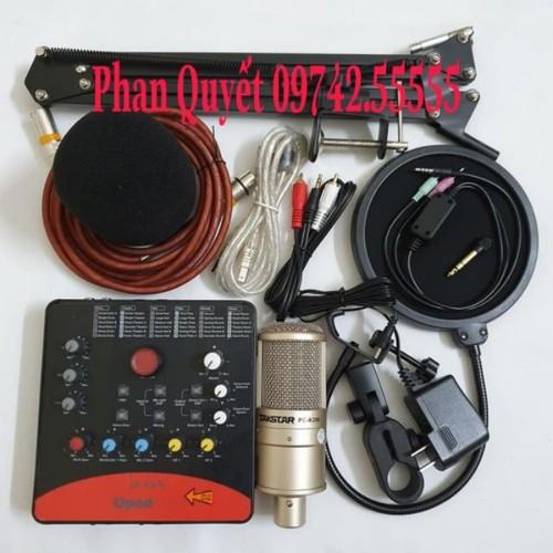 Bộ Combo mic livestream hát karaoke micro takstar PC-k200 card icon upod.pro dây MA2 màng lọc chân kẹp