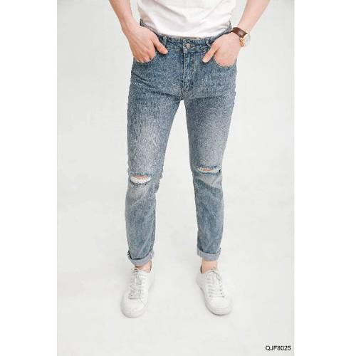 Quần jean nam dài rách  gối