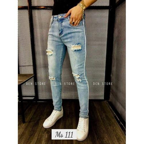 Quần jean nam dài rách  gối  đùi