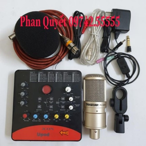 Bộ Combo mic livestream hát karaoke online micro takstar PC-k200 card icon upod.pro dây live MA2
