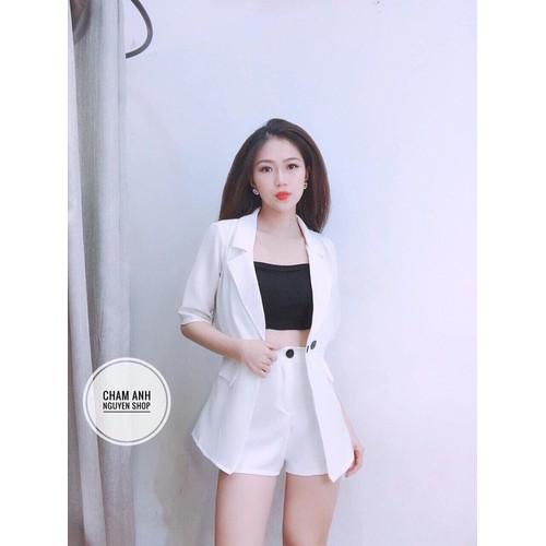 Com bo 3 món: Set áo vest tay lỡ áo thun ống quần trắng siêu hot