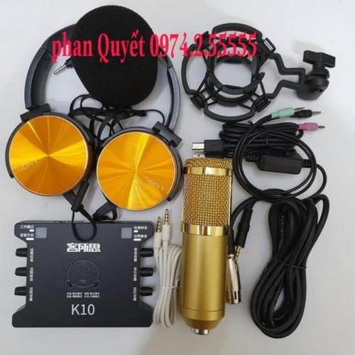 combo Bộ mic thu âm livestream hat karaoke online micro BM800 card K10 dây live ma2 tặng tai nghe 450
