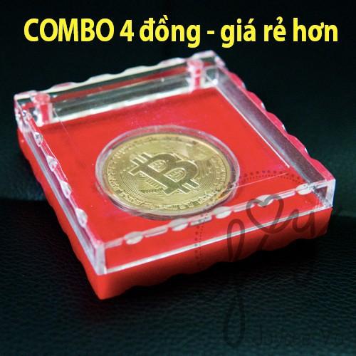 Combo 4 Đồng Bitcoin Lưu Niệm Có Hộp Đỏ Cao Cấp JV140