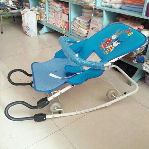 Ghế rung ăn bột Cao cấp K5 - Có bảo hiểm, bánh xe, thanh ngang