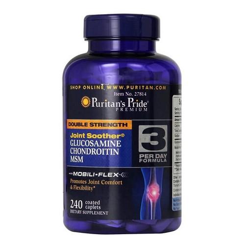 Viên uống hỗ trợ bồi bổ khớp sụn-viêm đau xương khớp glucosamine chondroitin MSM số 3 Puritan