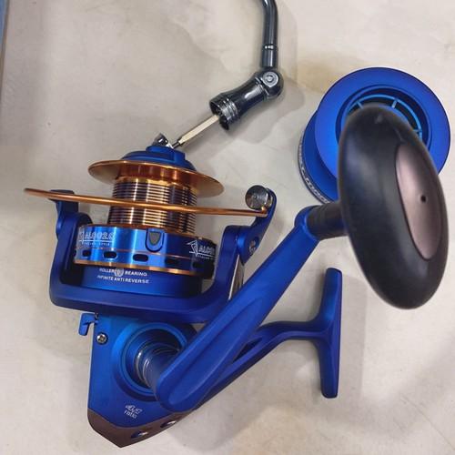 Máy câu cá full kim loại ALC 8000 hàng ITALY chống rỉ hàng cao cấp tặng tay quay inox và lô phụ