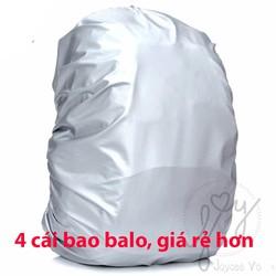 Combo 4 cái Túi trùm balo, túi xách cho trẻ em chống mưa, chống thấm, chống bám bụi 4B135