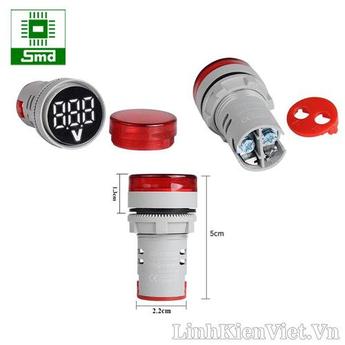 Đèn báo nguồn hiển thị điện áp AC 80-500V OX-AD16 22mm màu đỏ