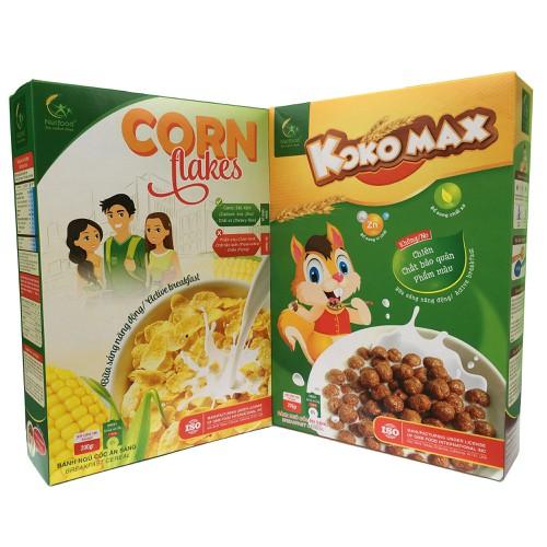 COMBO 2 HỘP ngũ cốc ăn sáng KOKO MAX VÀ CORN FLAKES CỦA NETFOOD MỖI HỘP 200G