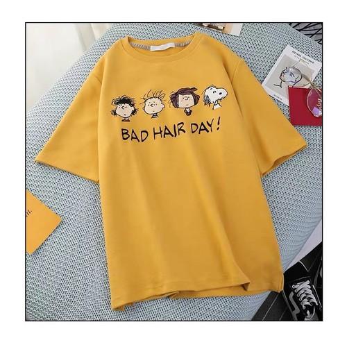 áo phông nữ màu vàng in hình tóc ngộ nghĩnh
