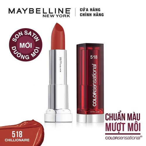 Son satin dưỡng môi Maybelline New York Color Sensational State Your Color 3.9g - Màu 518: Cam Đất -CHILLIONAIRE - 9122680 , 18829179 , 15_18829179 , 175000 , Son-satin-duong-moi-Maybelline-New-York-Color-Sensational-State-Your-Color-3.9g-Mau-518-Cam-Dat-CHILLIONAIRE-15_18829179 , sendo.vn , Son satin dưỡng môi Maybelline New York Color Sensational State Your Col