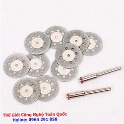 Bộ 10 lưỡi cắt phủ kim cương mini đường kính 18mm chân trục 3mm dùng cho máy khoan mài khắc mini đa năng