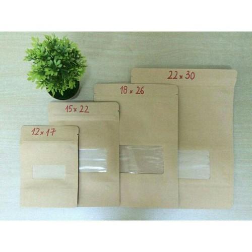 1Kg túi zipper giấy kraft có cửa sổ size 12x19
