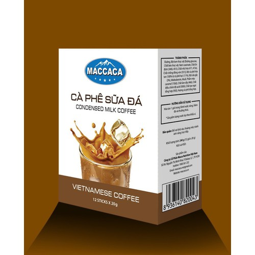 [ maccaca cafe hương vị thơm ngon ] cafe dừa - sữa đá - sâu riêng - 3 in 1