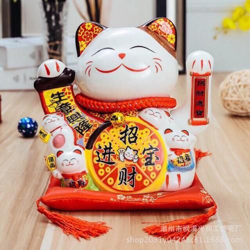 Mèo thần tài vẫy tay Ngũ Phúc Lâm Môn cao 20cm kèm đệm và sạc
