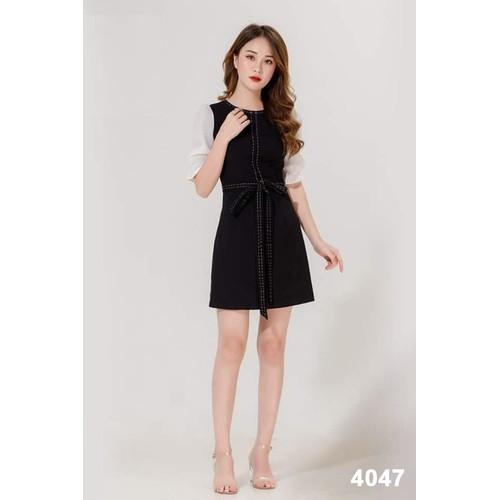 Đầm suông đen tay phối trắng 4047