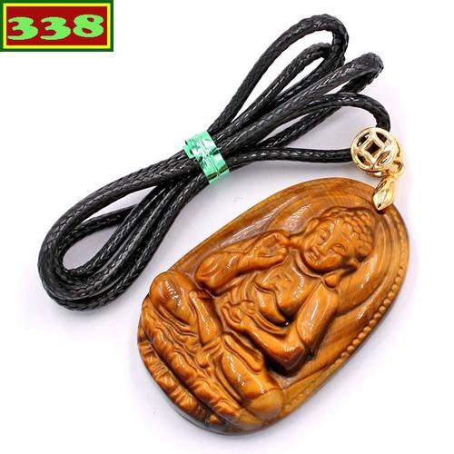 Vòng cổ Phật A Di Đà đá mắt hổ 5 cm DEMHN7 - Hộ mệnh tuổi Tuất, Hợi - Mặt Phật Size lớn