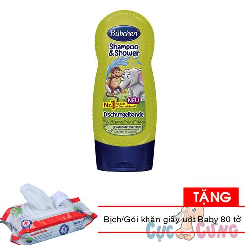 Sữa tắm và gội chung rừng nhiệt đới cho trẻ em Bubchen 230ml Tặng 1 bịch khăn giấy ướt Baby 80 tờ