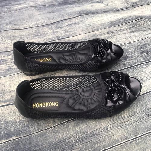 Giày mọi nữ ren lưới mẫu mới đế bệt