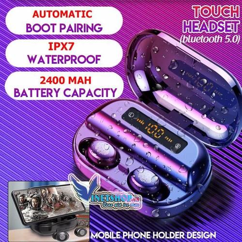 Tai Nghe Bluetooth 5.0 Cao Cấp Amoi V11, Tai nghe bluetooth V11 Chống Nước IPX7, Âm Thanh Hifi, nút bấm Cảm Ứng Vân Tay, dock sạc có màn hình led hiển thị dung lương pin, kiêm pin sạc dự phòng, 2 tai