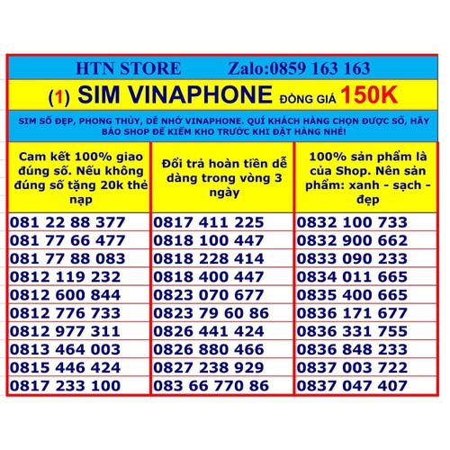 Sim vinaphone số đẹp  đồng giá 150K