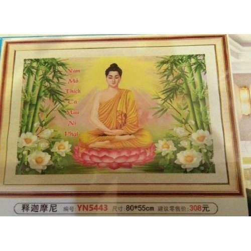 Tranh đính đá Phật - Hoa Sen Trắng kt 80x55cm