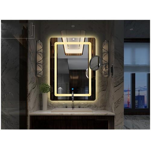 Gương đèn led phòng tắm thông minh SMHome GNT02 ánh sáng vàng 500 x 700mm - Tích hợp đèn led và công tắc cảm ứng trên gương