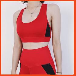 Set Đồ Tập Gym Nữ Áo Bra Top phối màu Đỏ cá tính