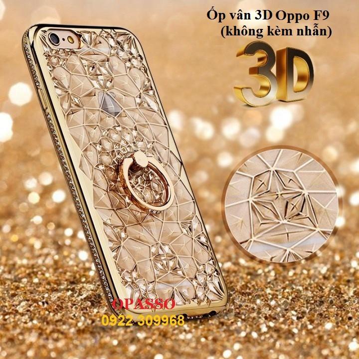 Ốp lưng kim cương vân 3D Oppo F9 Ốp lưng vân 3D phủ kim tuyến viền đính đá