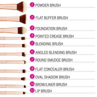 Bộ Cọ Trang Điểm Bh Cosmetics Metal Rose 11 Piece Brush Set With Cosmetic Bag - BH18 thumbnail