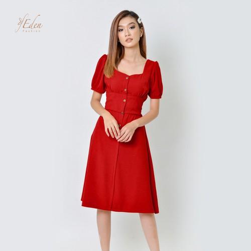 Đầm Xòe Vintage Cao Cấp Thời Trang Eden - D355
