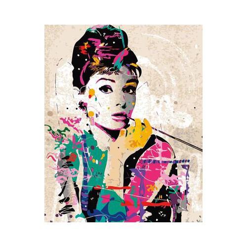 Tranh sơn dầu tự tô Audrey Hepburn quyến rũ tặng màu+cọ vẽ - 40x50cm