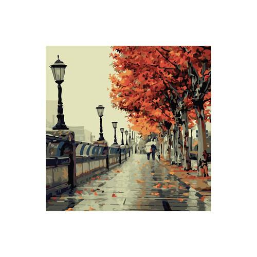 Tranh mưa ngày thu tặng màu+cọ vẽ - 50x65cm