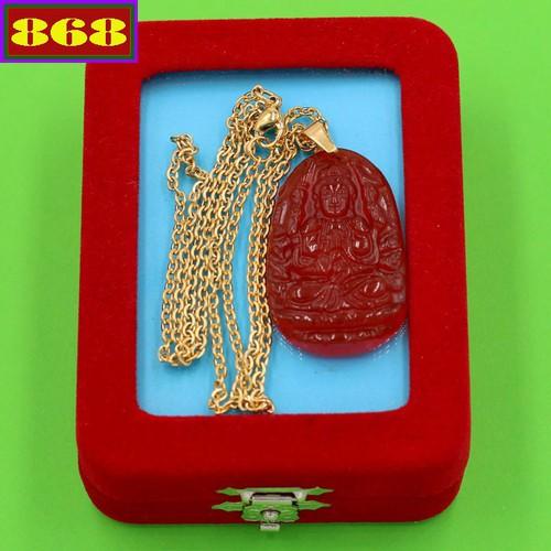 Dây chuyền mặt phật Thiên Thủ Thiên Nhãn - thạch anh đỏ 3.6cm DIVTOB8 - dây inox vàng - kèm hộp nhung