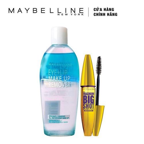 Bộ Đôi Mascara làm dày mi Maybelline Magnum Bigshot 9.2ml + Nước Tẩy Trang Mắt Và Môi Maybelline 150ml - Tặng kèm 1 cây son L