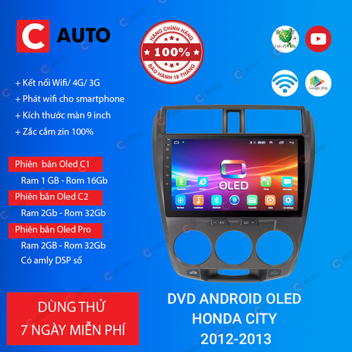 MÀN HÌNH DVD Ô TÔ ANDROID HONDA CITY 2012-2013 CẮM SIM 4G