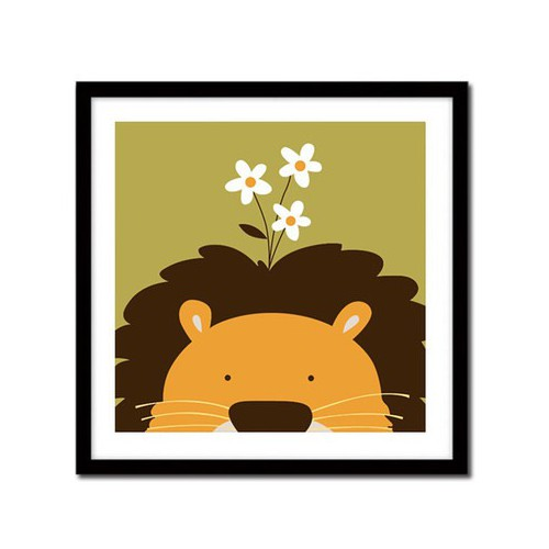 Tranh tự tô thiếu nhi Sư tử lãng mạn tặng màu+cọ vẽ - 30x30