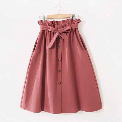 N175 - Chân váy xoè thiết kế nơ thắt eo phối nút dễ thương