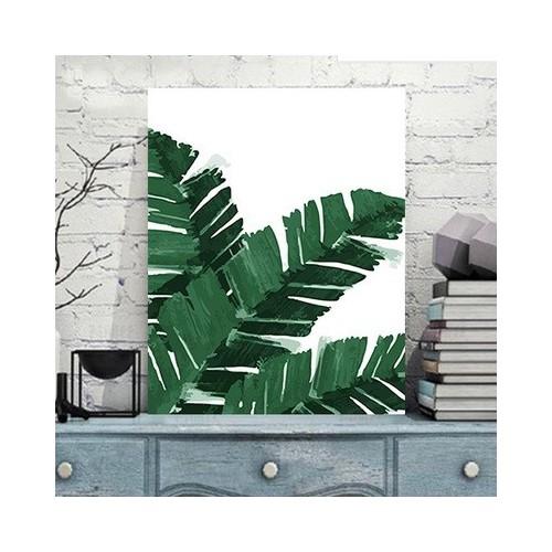 Tranh họa tiết lá nhiệt đới tặng màu + cọ vẽ - 60x75cm