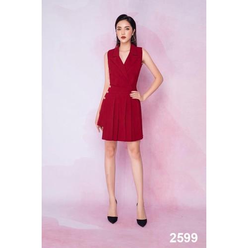 Đầm xòe đỏ xếp ly 2599