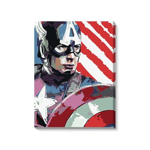 Tranh DIY Captain America tặng màu+cọ vẽ - 50x65cm