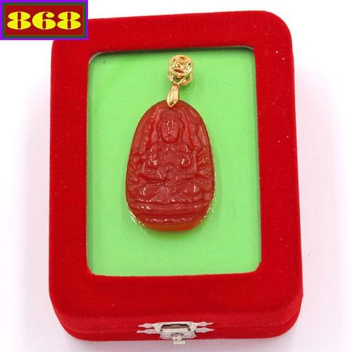 Mặt dây chuyền Phật Thiên Thủ Thiên Nhãn - thạch anh đỏ 3.6cm - kèm hộp nhung - tuổi Tý