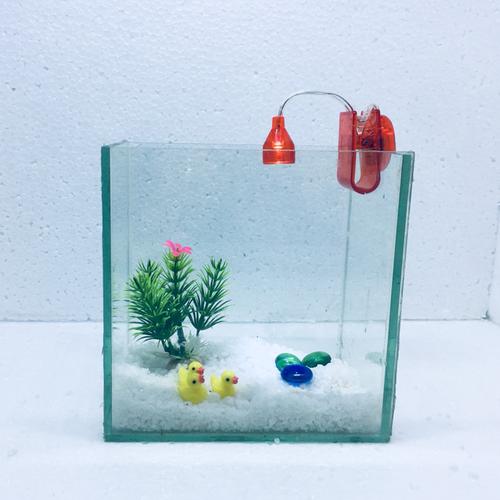 Bể cá mini để bàn 15cm có đèn kẹp