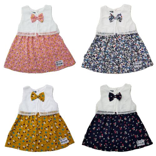 93110-M1- Váy đũi bé gái, sát nách, đính nơ, phối ren, in hoa, hiệu alado, size bé 1-7,ri7