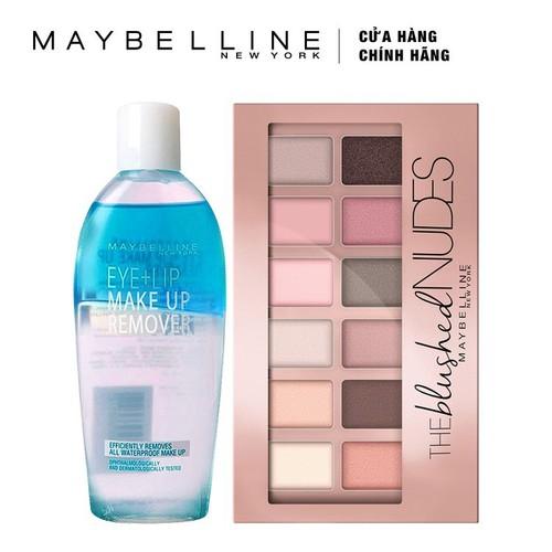 Bộ Đôi Bảng màu mắt Maybelline The Blushed Nudes Palette tông hồng nude + Nước Tẩy Trang Mắt Và Môi Maybelline 150ml - Tặng kèm 1 cây son L