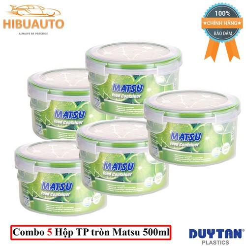 Combo 5 Hộp Nhựa Tròn Đựng Thực Phẩm Duy Tân Matsu 500ml phi 12.9 x 7.5 cm No.454