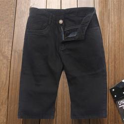 Quần short jeans nam đen vải dày TS169